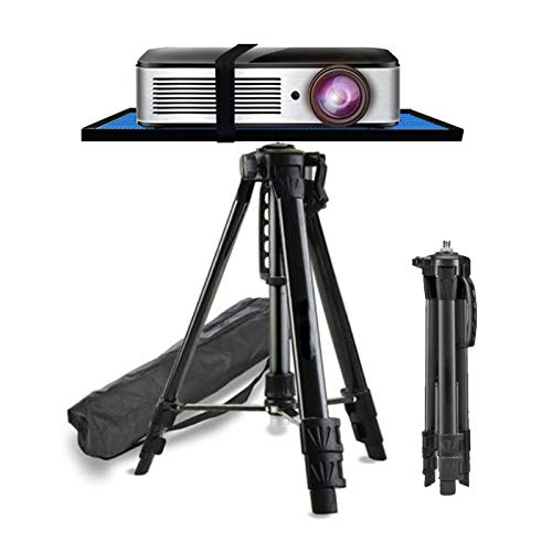 ERTYU Projector Floor Stand Tripod Foldable,Aluminum Multifunction Tripod Stand with Tray, Computer Stand Adjustable Height 17'' To 47'' for Laptop And Projector Black