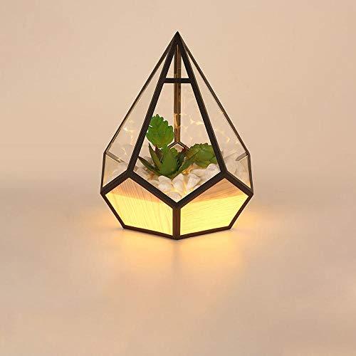 Lámpara de mesa de diamante led moderna, dormitorio, mesita de noche, paisaje negro, acrílico, luz nocturna, arte, lámpara de lectura, accesorios de decoración-negro