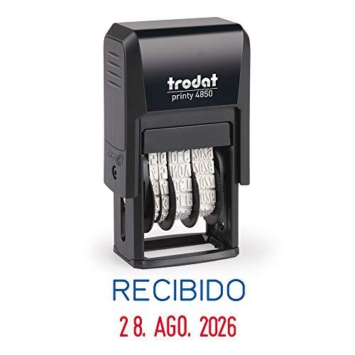 Stempel Fechador Trodat Printy 4850/L1 zelfkleurend met opschrift, afdrukformaat 25 x 3,8 mm, geïntegreerde inktcartridge, tweekleurig blauw-rood
