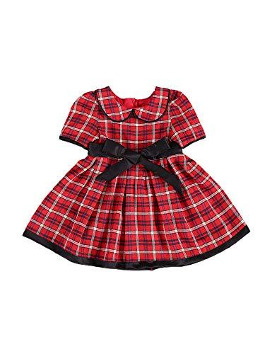 Carolilly Baby Mädchen Weihnachten Kleid Rock mit Hoher Taille und Plaid Langarm Herbst Winter Prinzessin (Rot 3, 3-4 Jahre)
