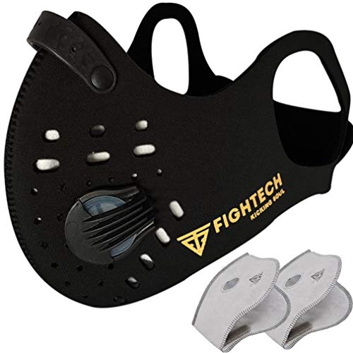 FIGHTECH Anti Pollution Dust Mask with 2 Carbon Filters for Pollution Pollen Allergy Woodworking Mowing | Washable and Reusable Neoprene Half Face Mask | Black, Medium