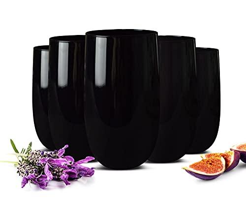 Sendez 6 Schwarze Trinkgläser 320ml Wassergläser Saftgläser Cocktailgläser Longdrinkgläser