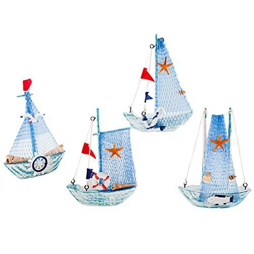 VOSAREA 4 Stücke Segelboot Modell Holz Segelschiff mit Muschel Maritime Deko Holzboot Mediterraner Stil Boot Schiff für Wohnzimmer Tischdeko Schaufenster Büro Schreibtisch Deko