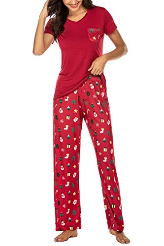 Hotouch Women's Christmas Santa Claus Xmas Gift Two Piece Pajama Set Teen and Girls XL