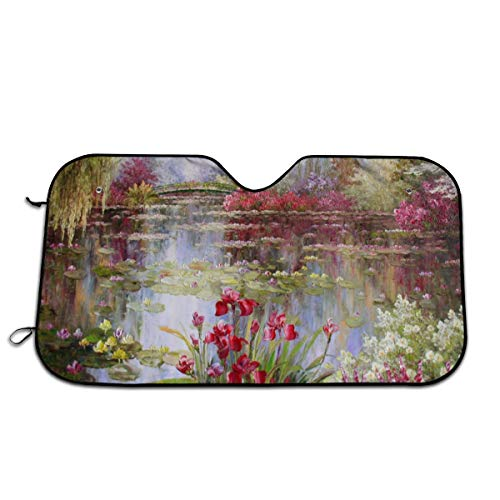 DIDIDI Monet Paintings Red Flowers Windshield Sun Shade Cover Summer Car Windows Visor Kit