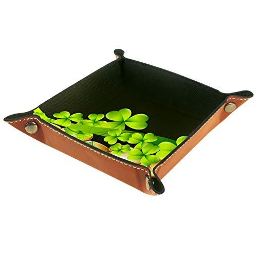 Caja de almacenamiento pequeña, bandeja de valet para hombre,Hojas de trébol verde del día de San Patricio ,Organizador de cuero para llaves de caja de monedas