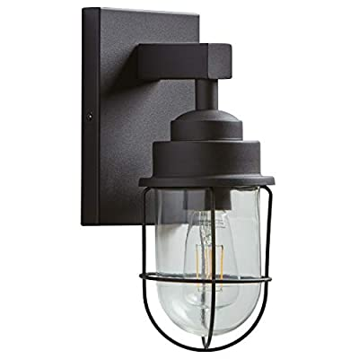 """Stone & Beam Jordan Industrial Wall Sconce With Bulb, 8.75""""H, Black, For Indoor Outdoor Use"""