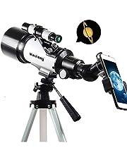 LEDU Telescopio, 120X monocular Espacio de Entrada Exterior Profesional telescopio y trípode se Puede conectar a teléfonos móviles, Adecuado para los niños Principiantes