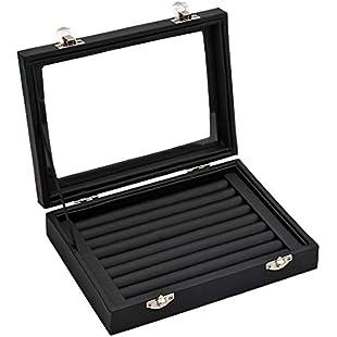 Ivosmart 7 Slots PU Leather Ring Jewelery Display Storage Box Tray Case Holder Earring Organizer Stand Black