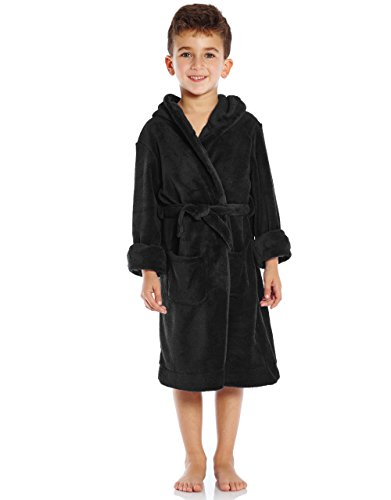 Leveret Kids Robe Boys Girls Solid Hooded Fleece Sleep Robe Bathrobe (8 Years, Black)