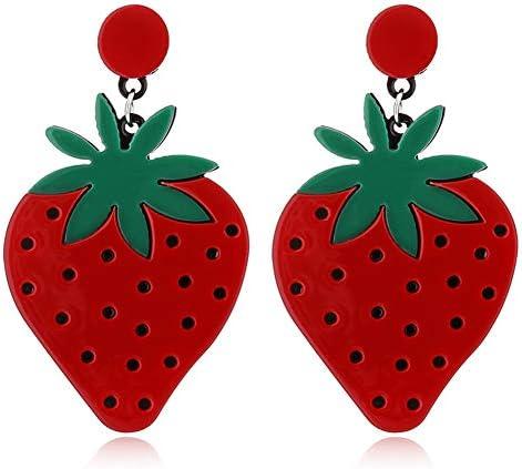 Gmillions Fashion Acrylic Fruits Drop Earrings Lovely Strawberry Lemon Long Dangle Earrings product image