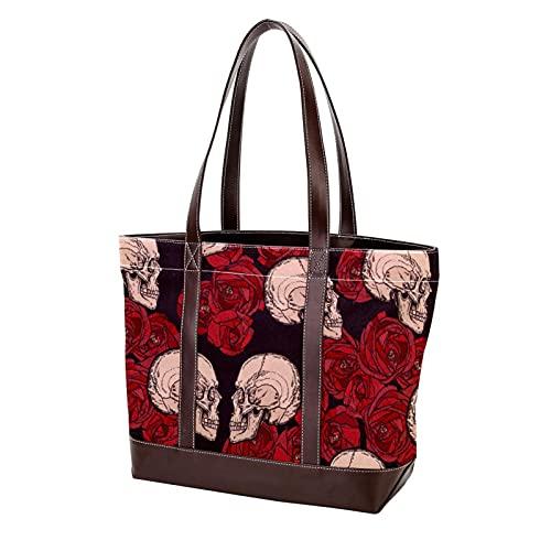 NaiiaN Bolso de compras Retro Vintage Red Rose Flower Skull Tote Bag Bolsos para madres Mujeres Niñas Señoras Estudiantes Bolsos de hombro Correa liviana