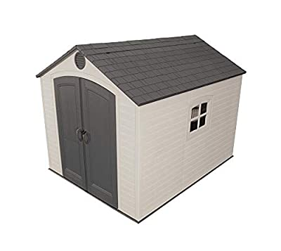 6405 Lifetime 8 x 10 ft Outdoor Storage Shed with Window, Skylights, and Shelving