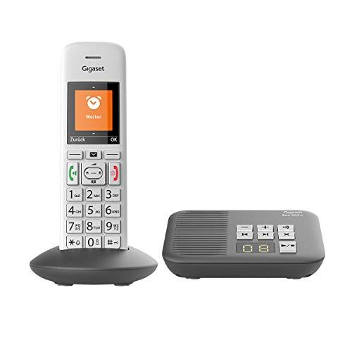 Gigaset E370A Schnurloses Telefon (für Senioren mit Anrufbeantworter, mit großen Tasten und SOS-Funktion, einfache Bedienung, extra großes Farbdisplay, einfache Bedienung) silber-grau
