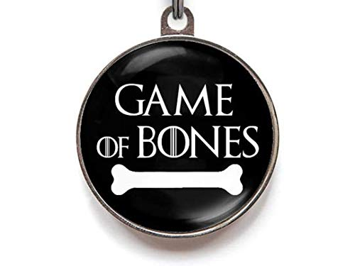 Wag-A-Tude Tags Game of Bones Dog Tag Cat Tag Custom Pet Tag (Large)
