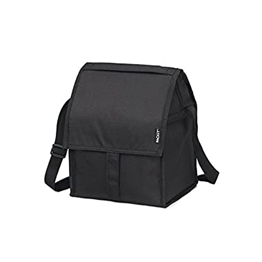 PackIt Freezable Deluxe Large Lunch Bag with Shoulder Strap, Black