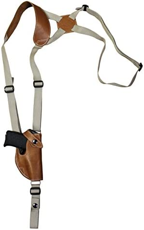 Barsony Max 71% OFF New Saddle Tan Discount mail order Leather Holster Vertical 380 Shoulder for
