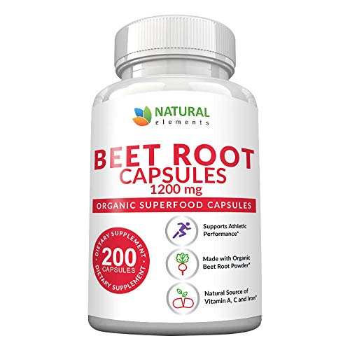 Beet Root Capsules - 1200mg Per Serving - 200 Beet Root Powder Capsules - Beetroot Powder Supports Blood Pressure, Athletic Performance, Digestive, Immune System (Pure, Non-GMO & Gluten Free)