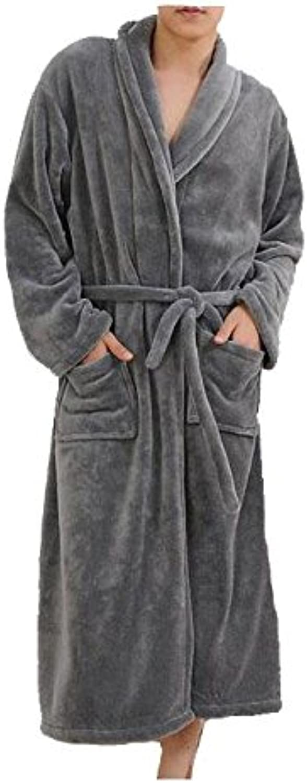 Mens Women Soft Coral Fleece Thickering Bath Robe Dressing Gown Shawl Collar Bathrobe Perfect for Home leisure Shower Bathing , 007 , XXL