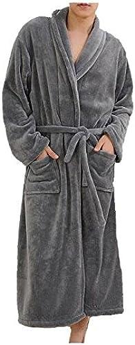 CanKun Hommes Femmes Doux Corail Polaire épaisseur Peignoir Robe de Bain Robe Chale Col Peignoir Parfait pour la Maison Loisirs Douche Baignade, 007, L