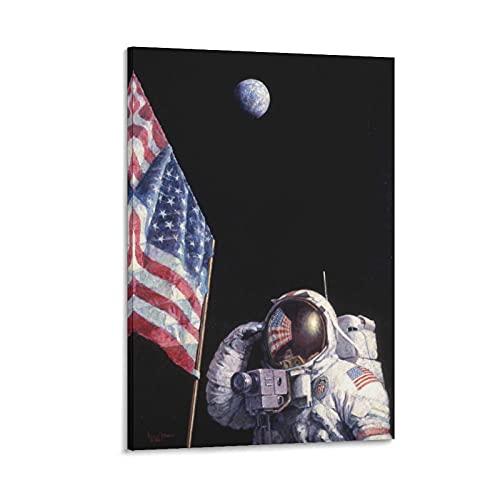 Astronauten Land Mond Flaggen Universum Geschichte Klassenzimmer Poster Kunst 2 Bild Druck Wohnzimmer Gemälde auf Leinwand Wand Kunst Poster Wand Dekor Home Poster 60 x 90 cm