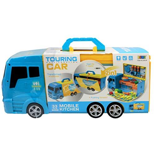 Tomaibaby Juego de Simulación Camión de Comida Coche de Cocina Juguete con Olla de Cocina Sartén Accesorios de Cocina para Niños