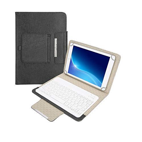 Lazmin112 Tastiera per Tablet Wireless Bluetooth da 10 '', Custodia Protettiva in Pelle PU con Supporto Supporto + Tastiera Bluetooth per Android/iOS/Win