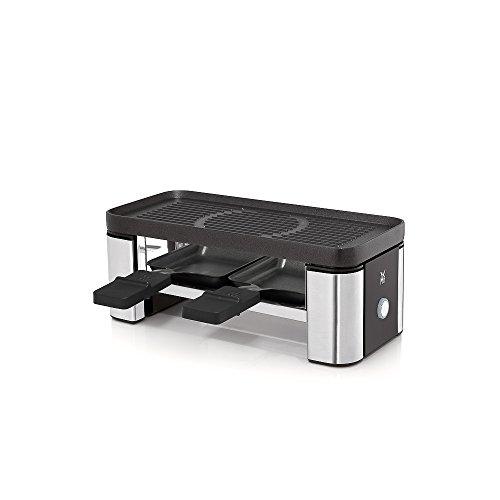 WMF Küchenminis Raclette 2 Personen, Grill, 3 Pfännchen, Schieber und Keramikschüssel für Schokoladenfondue, 370 W, edelstahl matt
