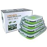 Beeptrum Recipientes plegables de silicona para almacenamiento de alimentos, paquete de 4 unidades (verde)