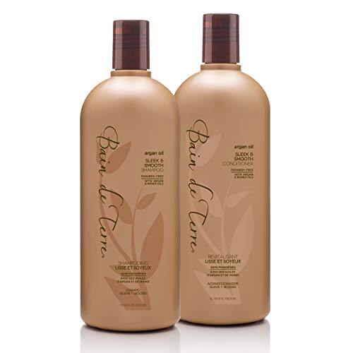 Bain de Terre Argan Oil Sleek and Smooth Shampoo and Conditioner, with Argan and Monoi oil, Paraben-Free