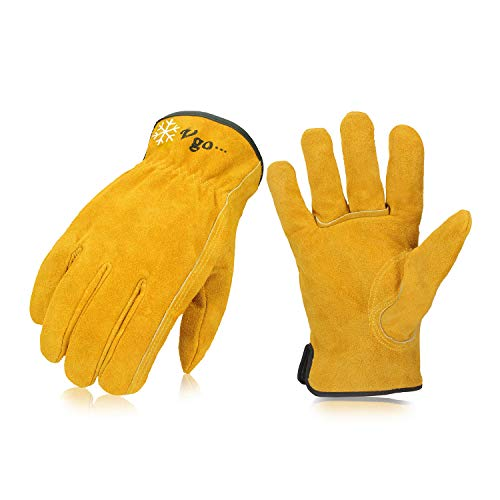 Vgo 3-Pairs 32℉ or above 3M Thinsulate C40 Winter Lined Cowhide Split Leather Work and Driver Gloves, For Heavy Duty/Truck Driving/Warehouse/Gardening/Farm/Cold Storage(Size L, Gold, CB9501F)