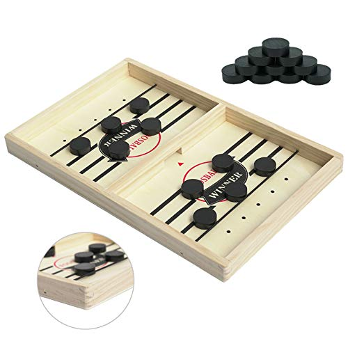 Kongwal Fast Sling Puck Game Foosball Winner Board Game Slingshot Game Board Speed Puck Game Hockey Table GameFast Paced Wooden Hockey Game for ParentChildInteractionMedium