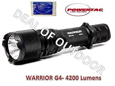 Powertac Warrior G4-4200 Lumen Tactical Flashlight (Flood Light) Plus Deal of Outdoor Lens Cloth