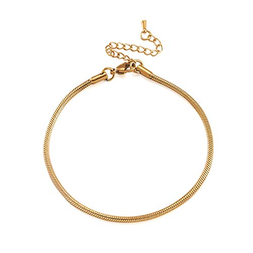 Pandahall 10 Strands 7-7/8 Inch Stainless Steel Snake Chain Bracelets 2.5mm Golden European Charm Bracelet with Lobster Clasp Extender Chain for Jewelry Making
