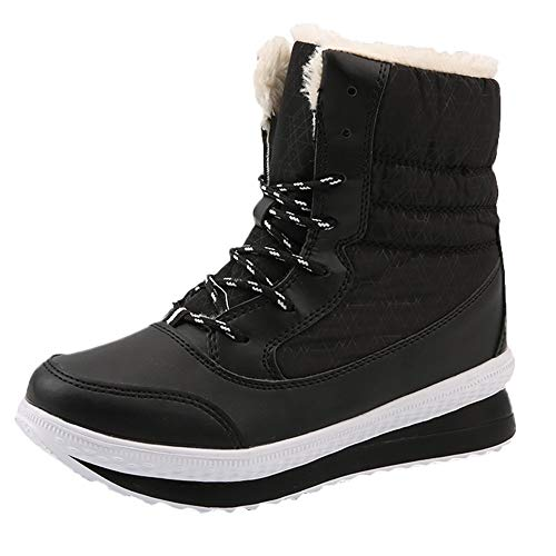 Logobeing Botines Mujer Planos Zapatos Mujer Botas de Nieve Botas para Mujer de Invierno Mantener Cálidos Botas de Plataforma a Media Pierna Antideslizante (41, Negro)