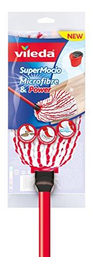 Vileda – Super Mocio Microfibre et Power - Balai Serpillère à Franges - Ultra absorbant et dégraissant - Fibres rouges et blanches