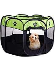 Pet Playpen Dog Tent Cat Kennel Puppy Foldable Bed House for Rabbit Small Medium Large Kitten Animals Indoor Outdoor Travel Camping Exercise (Black & Green)