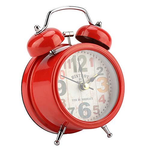 WLH Mini Metal Digital Alarm Relojes Mute con Luces Twinkling Bell Classical Antique para Dormitorio