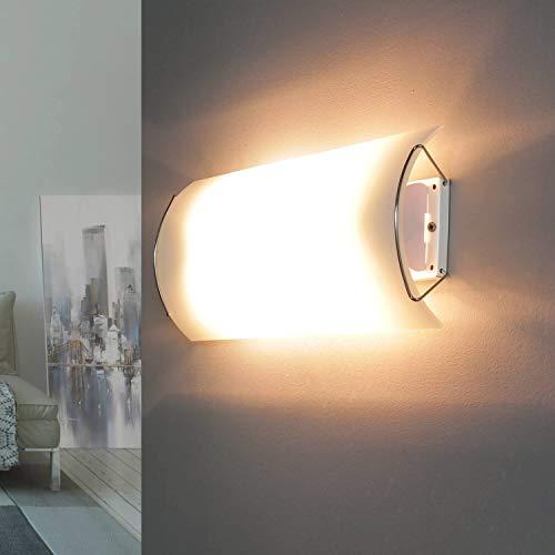 Schmale Wandlampe Glas Weiß flach blendarm 15x30cm Wandleuchte Flur Treppenhaus Wohnzimmer