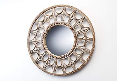 Spiegel Wandspiegel Boho - rund - Holz - 52 cm