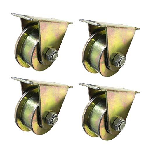 4xT-Nut steifer Stahlrollen-Rad,T-Nut-Laufräder,Industrie Bremsräder,Doppellager,Schiebetür Rollen,Industriemaschinen (2,5/3/4 Zoll), Vierkantrohre,1800 kg