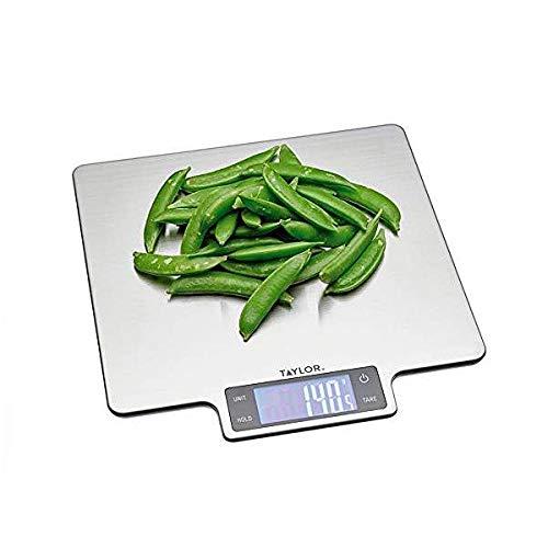 Taylor Pro Balanza Digital de Cocina Tamaño Grande, Función de Peso con Tara con Sensor de Alta Precisión, Nivel Profesional, Acero Inoxidable Efecto Plata, 10 kg de Capacidad