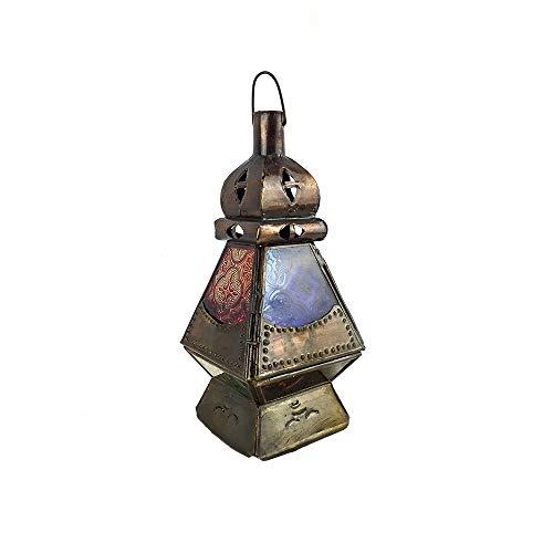 Farol portavelas marroquí de cristal y metal perforado a mano 25 cm