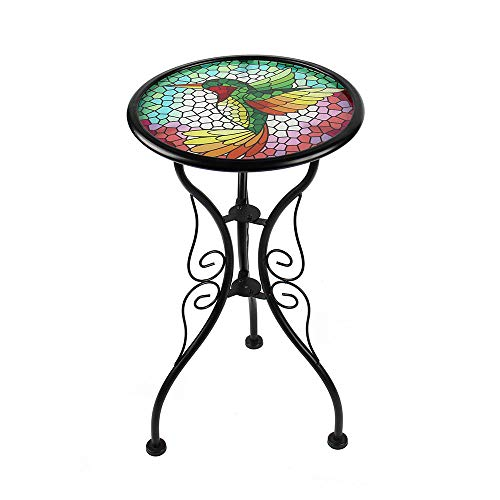 Liffy Hummingbird Outdoor Side Table Round Painted Glass Desk for Garden, Patio or Dining Room