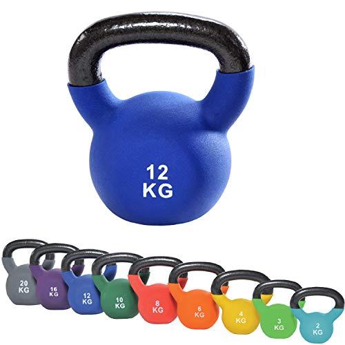 top vit Kettlebell I Schwunghantel aus massivem Guss I Kettle Bell mit Vinyüberzug I Kugelhantel 2-20 kg (12kg - blau)