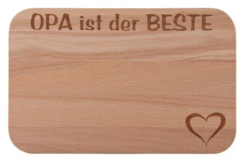 FABRIKSTORES GmbH Frühstücksbrettchen/Frühstücksbrett mit Gravur Opa ist der Beste als Geschenk - aus Holz - Geschenkidee ideal zum Geburtstag oder zu Weihnachten
