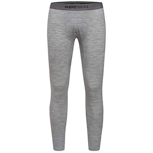 super.natural Lange Herren Funktions-Unterhose, Mit Merinowolle, M BASE TIGHT 175, Größe: S, Farbe: Grau meliert