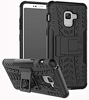 E-desire Samsung Galaxy A8(2018)Black Dual Layer Heavy Duty Hybrid Protective Case Cover with Stand