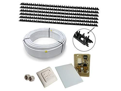 Sani-WALL Wand- u. Fußbodenheizung mit Klemmschienen, Warmwasser, Komplettsystem 5m² oder 10m² mit Verbundrohr 16x2mm und RTL E-Regelbox Standard, Fläche:10 qm