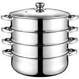 NICEXMAS Olla de Vapor de 4 Niveles de Acero Inoxidable Utensilios de Cocina Al Vapor Olla de Sopa de Vapor Multifunción
